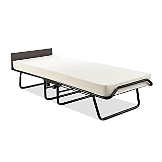 JAY-BE New Visitor Single Bed with Contract Mattress and Automatic Folding Legs, Steel Black