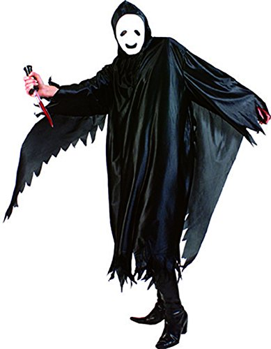 Halloweenia - Herren Halloween Karneval Kostüm Umhang, Geist Robe Skelett Scream , One Size, Schwarz (Scream Robe Kostüm)
