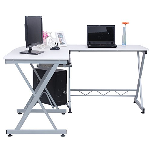 songmics large corner computer desk workstation home