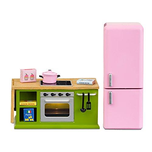 Lundby Puppenhaus-Küche mit Kühl-/Gefrierkombi in pink