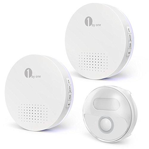 Preisvergleich Produktbild 1byone Türklingel, Runden Wasserdicht Funkklingel Set,Wireless Doorbell,150m Reichweite, 2 Empfänger und 1 Wetterfester Sender / Klingelknopf, in Weiß