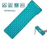 Hikenture Unisex Adult hiken05 Luftmatratze Kleines Packmaß Ultraleichte Aufblasbare Isomatte-Sleeping Pad für Camping, Reise, Outdoor, Wandern, Strand (Türkisblau), Kissen, 1