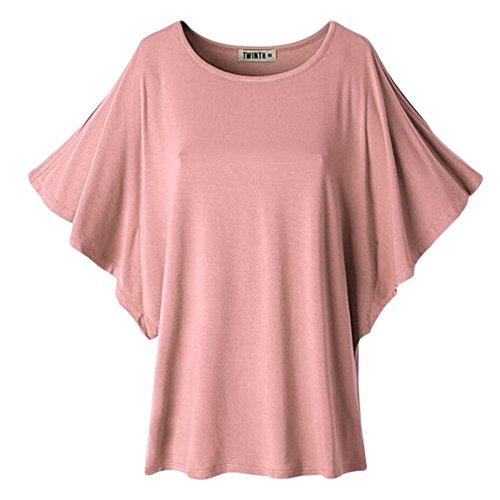 Uni-love Damen Teller Bluse Gr. 38, Nude Pink (Dolman Sleeve Drape)