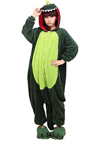 KiKa Monkey Jumpsuits Tier Cartoon Sleepsuit Karneval Cosplay Pyjama Erwachsene Kostüme Unisex Overall Pyjama (XL, Dinosaurier) (Tween Kostüme)