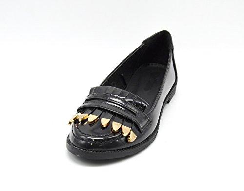 Oh My Shop SHF09 * Mocassins Vernis avec Franges à Bouts Dorés à lAvant - Mode Femme Noir