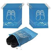 10 Pcs Drawstring Shoes Bag, JSF Travel Shoe Bags Portable Storage Pouch Packing Organiser Space Saving Storage Bags (Blue)