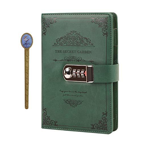 Notizbuch Tagebuch mit Passwort PU Leder Notebook Diary Book mit Schloss DIN A5 Notizblock Journal Reisetagebuch mit Zahlenschloss, 100 Blatt