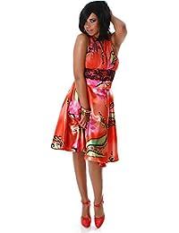 PF-Fashion Damen Kleid Cocktailkleid Partykleid Neckholder Blumen Push-up  Tanzkleid Reißverschluss Spitze Satin 486e9b158e