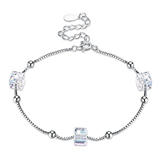 ANGGO Adjustable Silver Bracelet, 925 Sterling Silver Chain Magic Square Crystals Bracelet Set Jewellery Ideal Anniversary Birthday Gifts for Women (Style 2)