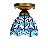 Tiffany Deckenleuchte/Handgefertigte Glaskunst/Mediterraner Blauer Lüster/Aluminiumlegierung / 6 Zoll Lampe E27, Wohnzimmer Im Innenhof