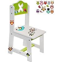 Preisvergleich für alles-meine.de GmbH Stuhl für Kinder - aus Sehr stabilen Holz - Bunte Eulen - Weiß / Grün - Ki..