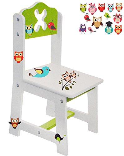 Unbekannt 1 Stück _ Stuhl für Kinder - aus sehr stabilen Holz -  Bunte Eulen - weiß / grün  - Kinderstuhl - Beistellstuhl - Kindermöbel für Jungen & Mädchen - Kinderz..
