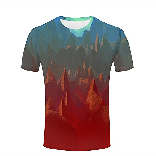 qianyishop Mens 3D Printed Polygon Art Abstract Mountain/Red Graphic Couple T-Shirts A