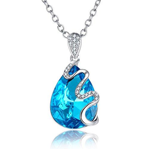 Schmuck Topas Blauer (Halskette mit einem Topas-blauen Kristall-Anhänger)