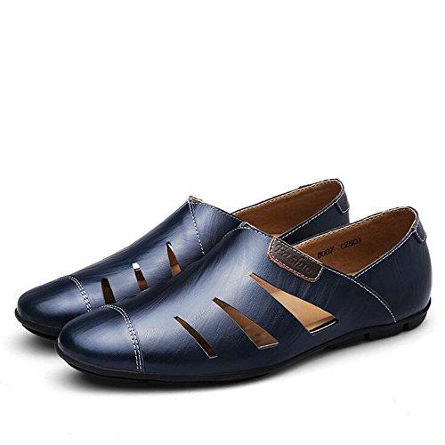 GAOLIXIA Herren Street Sandalen Large Size Fashion Wandern Sandalen Herren Lederschuhe - Strandschuhe - Large Size Casual Schuhe UK Größe 6-14 (Farbe : Blau, Größe : 44 EU) (Herren Blau Kleid Schuhe Größe 14)