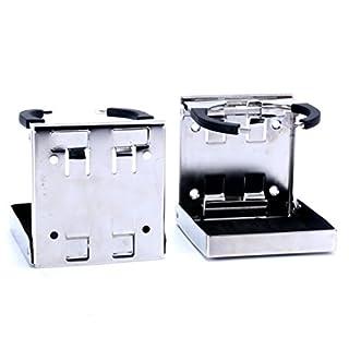 SeaLux Amarine Made 2 Stück Edelstahl Verstellbar Faltbare Getränkehalter Marine/Boot/Wohnwagen/Auto
