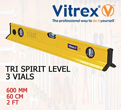 Vitrex Professional Builders 60 cm Aluminium 3 Phiolen breit V-förmiger Boden Tri Wasserwaage/Lineal - ideal für Gerüst/Dachfliesen/Rohre und unebene Oberflächen