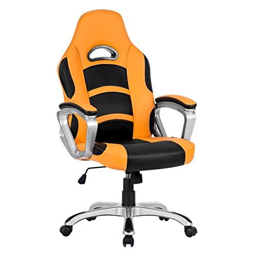 Langria sedia da gioco per computer con schienale alto, seduta ergonomica in pelle pu con poggiatesta e braccioli imbottiti, altezza sedile regolabile, schienale inclinato,360 gradi girevole,arancione