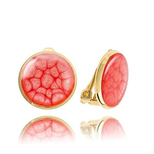 Les Boucles d'Oreilles à Clips de Couleur Rouge-Rubis comme un Cadeau de Saint Valentin