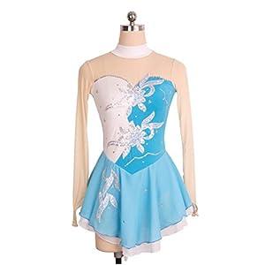 Eislaufen Kleid Für Frauen und Mädchen, Handarbeit Eiskunstlauf Kleid Leistung Pailletten Kristalle Nylon Langärmelig Eislauf Kleider