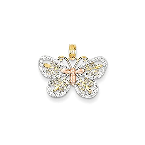14k Yellow & Rose gold with Rhodium D/C Butterfly Pendant
