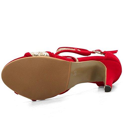 TAOFFEN Femmes Peep Toe Bottillons Sandales Aiguille Talons Hauts Ete Chaussures Rouge