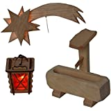 Image of Alfred Kolbe Krippen AM 9 Nativity Scene Accessory Set Lantern and Wooden Comet Illuminated 4.5 V and Well for 10–12 cm Figures - Comparsion Tool