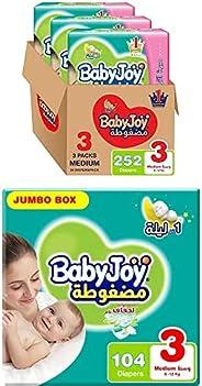 BabyJoy Compressed Diamond Pad, Size 3, 356 Diapers (1 Giant Box + 1 Jumbo Box)