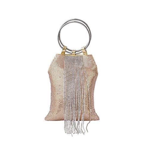 Strass Designer-handtasche (Brucelin 1 Stück Handtasche, Ring, Armband, für Damen, Strass, Abendtasche, für Mädchen)