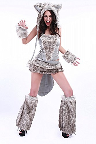 Fell-Kostüm SEXY WOLF SILBERGRAU, Größe:S/M