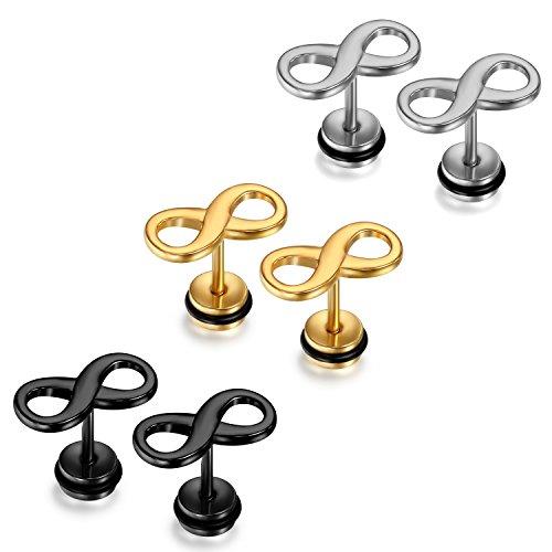 JewelryWe Boucles d'Oreilles Charme Amour Infini Acier Inoxydable Fantaisie pour Homme Femme Argent Noir Or Avec Sac Cadeau Noir
