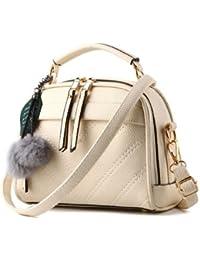 New Pu Leather Women Leather Handbag Hairball Women Messenger Bags Pouch Shoulder Crossbody Bags - B07B25YSM1