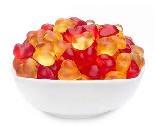 CrackersCompany 'Peach Hearts' (4 x 950g in ZIP Beutel) Fruchtgummiherzen mit Pfirsichgeschmack -...