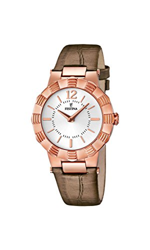 Festina Women's Quartz Watch with White Dial Analogue Display and Brown Leather Strap F16736/1
