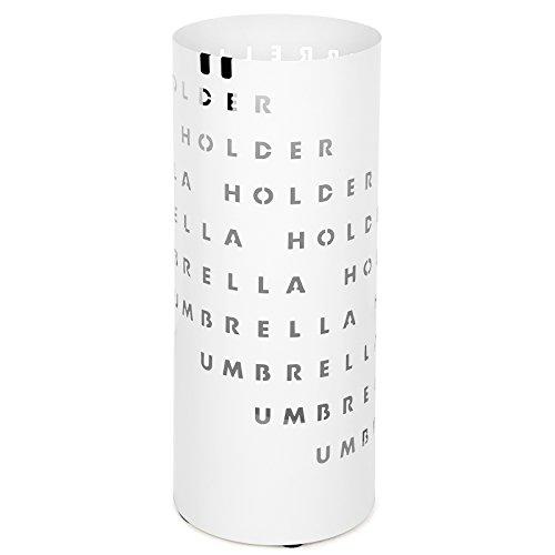 Songmics portaombrelli di metallo, rotondo, con gocciolatoio e gancetti, per la casa e l'ufficio, bianco luc54w