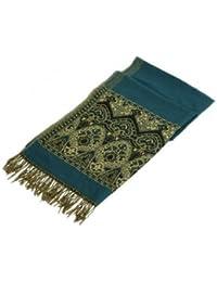 Sudiz 1 Stück 8 Farbe Elegante Schön Retro 70x180cm Damen Schal Stola aus Wolle mit 8cm Quaste (#5 Dunkel Grün)