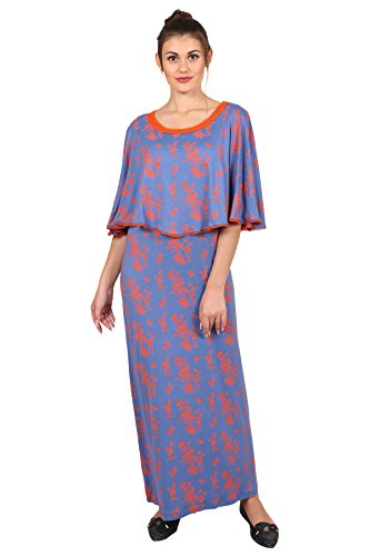 9teenAGAIN Women's Hosiery Nursing Night Dress (Orange & Blue, 2 Extra Large)