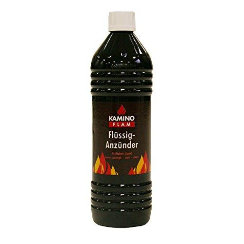 KaminoFlam Grillanzünder flüssig - Kohleanzünder 1l - Flüssiganzünder mit Sicherheitsverschluss - Grill Anzünder für Holzkohle & Briketts