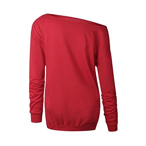 COCO clothing Spalle Scoperte Maglia a Manica Lunga Donna Natalizie Maglietta Casual Camicetta Ragazza Knitted Tops Jersey Felpe Primavera Autunno Pullover Rosso