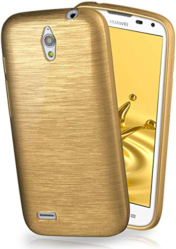 moex Huawei G610 | Hülle Silikon Gold Brushed Back-Cover TPU Schutzhülle Ultra-Slim Handyhülle für Huawei Ascend G610 Case Dünn Silikonhülle Rückseite Tasche