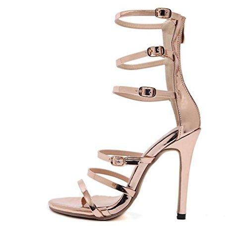 Beauqueen Gladiatoren Open-Toe Stiletto High Heel Zipper Limitierte Edition Elegante Sandalen EU Größe 35-40 Gold