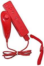 Woowo Nunchuk Remote Controller for Nintendo Wii,Mit Silikon-Hülle, rote