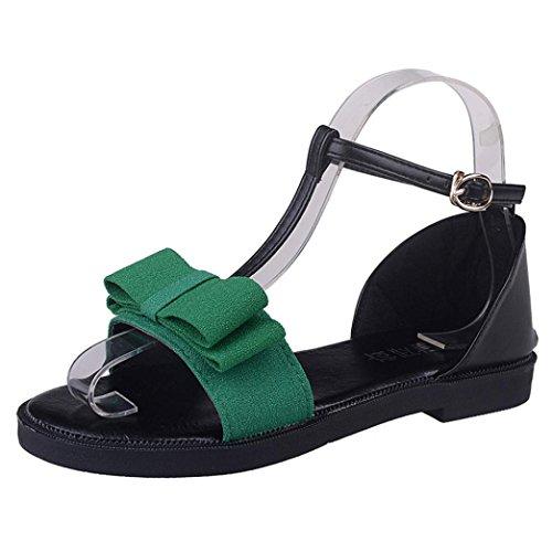 Transer® Damen T-Gurt Flach Sandalen mit Bowknot Schwarz Grün Ankle-wrap Outdoor Leder+Gummi Gurt Sandalen Grün