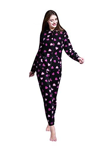 Mesdames Grenouillères - Définir les dames dans un Pyjama - Combi une combinaison lingerie de nuit - Pyjamas (EU 44-46, Motif coeur noir)