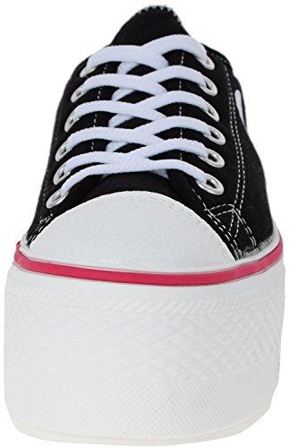 Maxstar C50 6 trous plate-forme basse table Trendy Chaussures-baskets Noir - noir