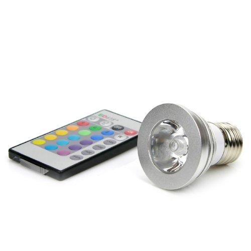 BestOfferBuy - Ampoule Lampe 16 couleurs LED 3W RGB 100-240V avec Télécommande à Boutons E27