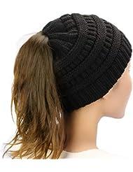 5b76de9124313 Dafunna Mujer Gorros de Punto Coleta Beanie Sombrero Invierno Suave Cálido  Elástico Ponytail Beanie Hat