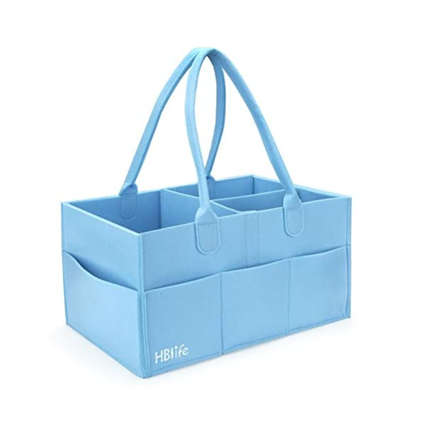 HBlife Baby Diaper Caddy Portable Nappy Organiser Felt Basket with Changeable Compartments 1