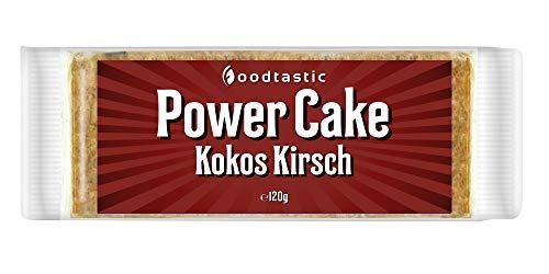 Saftige Kokos (Foodtastic Power Cake Kokos-Kirsch 12 x 120g | leckere und saftige Haferriegel | Handgemachte Flapjack Energieriegel auf Haferflocken Basis)