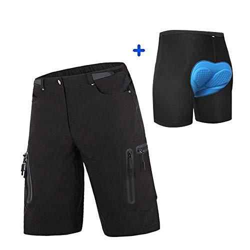 ALLY MTB Hose Herren Radhose, Wasserabweisend Mountainbike Kurz, Outdoor Sport Fahrradhose Herren Shorts (Schwarz mit gepolstert, 2XL (Taille: 34.5